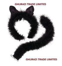 Deluxe Black Fur Cat Set Ears on Headband + Tail Kilt Halloween Accessory DS050