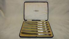 En Caja Conjunto de 6 plata esterlina manejado Té/mantequilla Cuchillos-Alexander Clark & Co