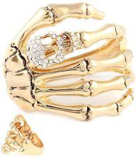 Skeleton Hand Skull Crystals Edgy Rock Hinged Bracelet  Goldtone