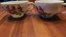 2  Moss Rose Pattern cups with gold trim  JAPAN