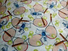 Sports Fabric Match Point Tennis Equipment on White Racket Balls Shoes BTY