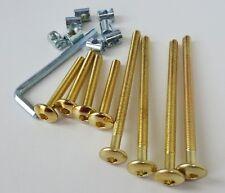 Gold / Brass Effect Furniture Cot Bed Bolts Zinc Barrel Nuts & Allen Key