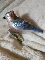 "8"" Blue Jay Old World Christmas Blown Glass Christmas Ornament Clip On NWT #1"