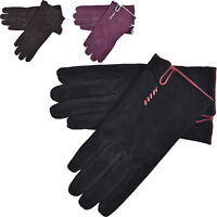 Ladies Womens Soft Sheepskin Suede Casual Driving Gloves Fleece Lining Leather