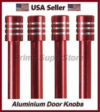 New Set Metal Billet Door Lock Knob Auto/Car/Truck/SUV/RV Red/Chrome Finish 4