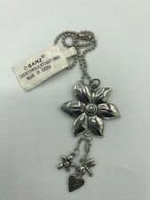Flower Car Charm Mirror Hanging Pewter Acrylic Large with Heart and Dragonfly