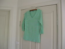 Ladies Top Size S  Bust 86 cm Green With  White Strips  Design Rockmans
