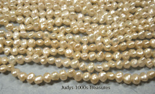 CULTURED PEARLS CREAM PINK BAROQUE 16 INCHES 4.75 x 3.50mm TEMP STRUNG  H-81-71