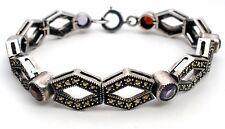 Judith Jack Sterling Silver Bracelet With Marcasites Garnet Amethyst Citrine 925