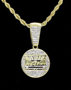 """Round Iced Last Supper Pendant 14k Gold Plated 24"""" Rope Chain Hip Hop Necklace"""