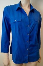 PIAZZA SEMPIONE Women's Royal Blue Collared 3/4 Sleeve Formal Blouse Shirt Top