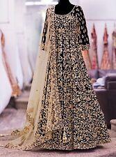 Black Silk Saree Sari Long Gown Dress Suit Lehenga Choli Ghagra Indian Bollywood
