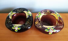 Bohemian Amethyst Purple Bowl Ashtray x 2 Flowers Gold Hand Painted Czech Glass