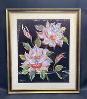 Vintage Still Life Flowers Floral Oil Painting Framed Artist Signed Original