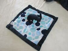 Carter's Baby Whale Lovey Security Blanket Navy Blue Polka Dots Plush velour