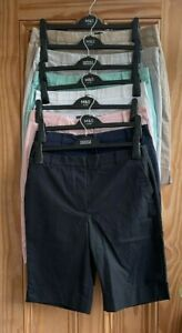 Ex M&S Brand New Pink Navy Blue Beige Black Cotton Chino Long Shorts Size 6 - 24