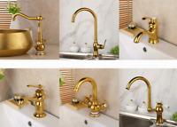 Bathroom Basin Golden Faucet Water Sink Faucet Mixer Tap 2 Handles 1 Hole