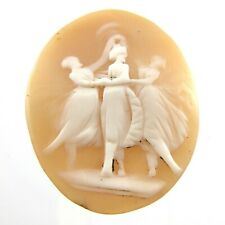 Mount Unmounted 1.4 inches 4 grams L876 3 Figure Hand Carved Shell Cameo No