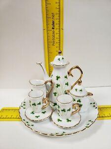 Clover Floral Ceramic China Teaware Tea Set for 1/6 Dollhouse Miniature