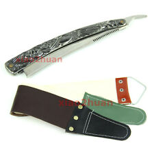 "Stainless Steel Barber Straight Shaving Razor Shaver ""Sweeney Todd""+Strop cloth"