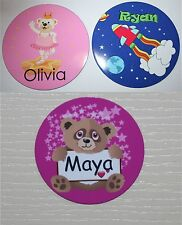 PERSONALISED Kids ROUND Name Door Plate Sign 9cm round plaque Childrens bedroom