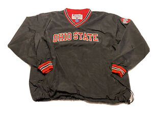 VINTAGE Champion Black OHIO STATE BUCKEYES Pull Over Windbreaker Men XL