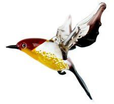 Red Yellow Robin Figurine Blown Glass Art Animal Bird Ornament