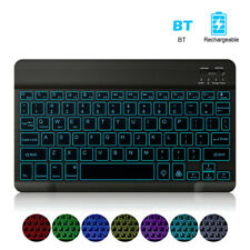 Universal Slim Portable Wireless Bluetooth 7-Color Backlit Keyboard Rechargeable