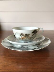 Vintage Japanese Porcelain Tea Trio Of Cup Saucer And Plate Signed Hand Painted