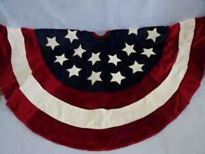 """Velvet Red White & Blue American Patriotic Tree Skirt Christmas 38"""" Round"""