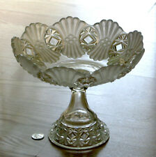 EAPG antique VERA FAGOT satin crystal LARGE OPEN COMPOTE Robinson #1 glass 1893