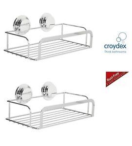 2 x Stainless Steel Stick N Lock Shower Rack Caddy Bathroom Shower Basket New