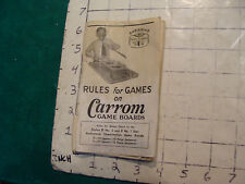 Vintage toy: Early RULES FOR GAMES ON CARROM GAME BOARDS, 38pgs, 1937