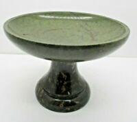 Vintage Greenish Stone Onyx Heavy Compote Pedestal Bowl
