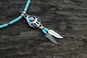 """NATIVE AMERICAN 925 STERLING SILVER TURQUOISE GEMSTONE BEAR PAW 18""""  NECKLACE"""