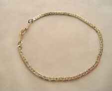 "7.25"" Textured C-Link Chain Bracelet • 14KGP • 14k White Gold Plated • 3g"