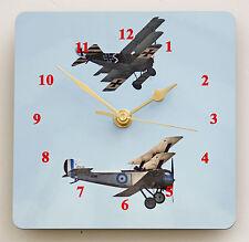 Orologio da parete quadrato – WW1 AVIATORI-AEREI DA GUERRA MONDIALE 1-Taglia 19cm da 19cm