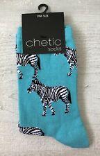 Ladies/Girls Bright Blue Zebras Cotton Ankle Socks