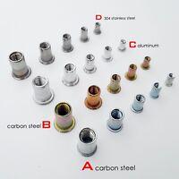 UNC Flat Head Rivnut Threaded Details about  /50 Pcs 1//4-20 Aluminum Flange Nutserts Rivet Nut