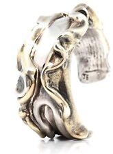 MODERNIST Vintage Sterling Silver Gold Wash Detail Cuff Bangle Bracelet 48.16g