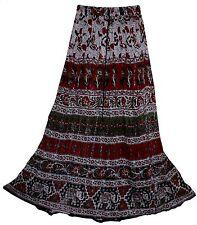 Indian Print Long Free Waist Skirt Maxi Usa Size S M L Broomstick Women Lurex