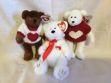 Ty Attic Treasures Collection 3 Valentine Bears - Amore, Casanova and Nicholas