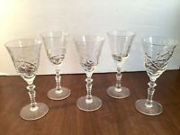 Set of 5 Cut Floral Glass Stemmed Cordial Liqueur Glasses Ornate Stem Barware
