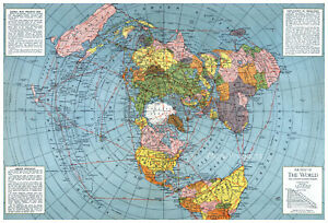 Flat Earth Map Polar Azimuthal Equidistant Projection 1943 WWII Poster 16x24