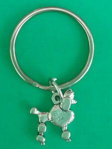 POODLE DOG Tibetan Silver Keyring/Bag Charm. Birthday Gift/Present.