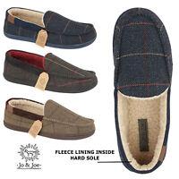 Mens Moccasin Slippers Slip On Winter Warm Fleece Fur Shoes UK 7 8 9 10 11 12