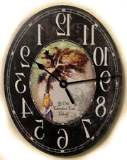 Ye Old Cheshire Cat Oval Clock Alice in Wonderland
