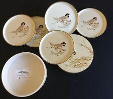 Otagiri Lacquerware Chickadee Coasters Set of 5 With case.