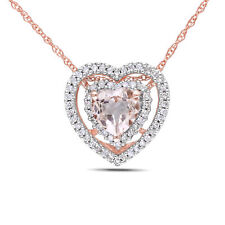 Amour 10k Rose Gold Morganite and Diamond Double Heart Halo Necklace