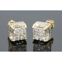 Women White Sapphire Gold Plated Brilliant Screwback Stud Earrings Jewelry 1Pair